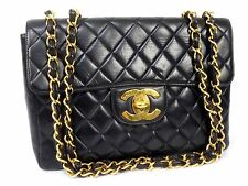 100% AUTH CHANEL BLACK LAMB VINTAGE JUMBO XL SHOULDER BAG W30 S142