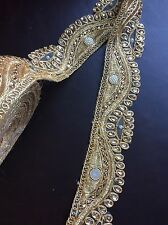 "1 meter gold 2.5"" diamante lace trim pearls mirrors beads stones edge craft sew"