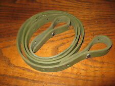 Unknown green leather rifle sling long with aluminum chicago screws