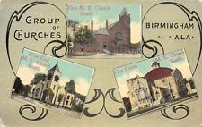 BIRMINGHAM, AL Five Points, West End M. E. Churches Alabama Postcard 1929