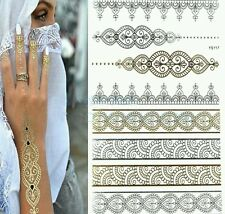 2PC Fashion Flash Waterproof Tattoo for Body Women Gold and silver Henna