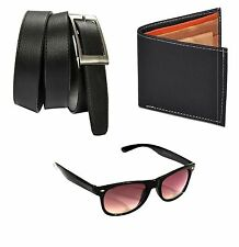 Combo of Black Wallet,Black Color Belt and Black Wayfarer Style Sunglass