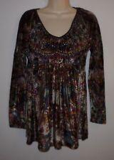 LIVE & LET LIVE Velvet Floral & Paisley Sublimation Knit Top Shirt S Empire Wst
