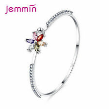 Colourful Clear Crystal Flower Bangle for Women Barcelet Girl Best Gifts