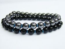 2 MEN'S BRACELETS Elasticated HEMATITE BLACK 8mm beads gemstone streachable
