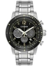 NEW CITIZEN MEN'S ECO-DRIVE WR100 SS BRACELET BLACK CHRONOGRAPH CA4358-58E