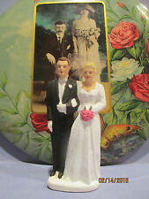 Vintage 1950's Chalkware Bride and Groom Wedding Cake Topper....Mint!