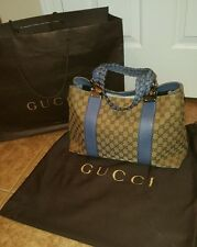 Auth Gucci GG Canvas Tote Bag 232947 (beige,blue )