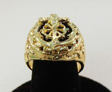 SIZE 10 MENS 14KT GOLD EP RELIGOUS ANCHOR MARINER CRUCIFIX CROSS RING