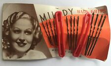 "Vintage Hair Barrettes - ""Milady"" Red Barrettes with 3 Size Bobby Pins"