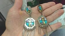 ANTIQUE ZUNI TURQUOISE SPINY OYSTER PEARL INLAY STERLING SILVER EARRINGS