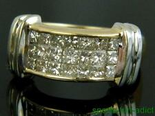 1ct Princess Diamond 14K Two-Tone Gold Invisible Set Cluster Dinner Ring