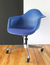 Mid Century Eames/Girard Blue on Blue Upholstered Fiberglass Swivel Chair NICE!