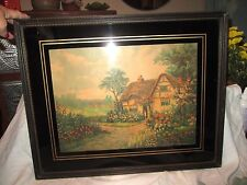 Vintage Will Thompson Cottage Print in glass/wood frame *signed by artist