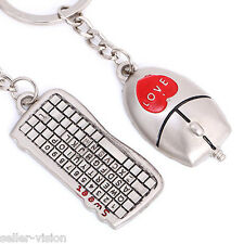 Mouse & Keyboard Couple Key Chain Ring Keyring Keyfob Love Gifts Couples Partner