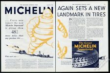 1929 Bibendum BIG Michelin Man art supertread tires vintage print ad