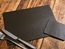 Set of 6 CLASSIC Brown Leatherboard PLACEMATS and 6 COASTERS, UK Made