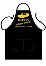 "MENS,WOMENS,UNISEX,BLACK PRINTED NOVELTY APRON,BBQ ""TROTTERS COOKING"" AS ADULT"