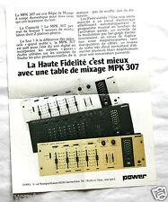 Publicité Pub Power Console table mixage MPK 307 an. 80  Hifi Audio