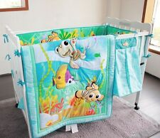 Baby Bedding Crib Cot Set-NEW Under the Sea 7 PCs Quilt Bumper Sheet Dust Ruffle