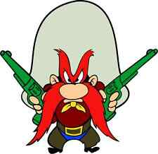 "Yosemite Sam Cartoon Car Bumper Sticker Decal 5"" x 5"""