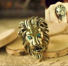 Vintage Gold Plated Green Crystal Lion Face Ring Size 7