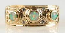 LARGE 9CT 9K GOLD VICTORIAN INS AUSTRALIAN OPAL & DIAMOND BAND RING