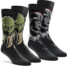 AUTHENTIC STAR WARS YODA DARTH VADER 2 Pack Socks White Black Socks Mens Costume