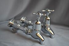 CHROME WALL MOUNTED BELFAST KITCHEN SINK TAPS RECLAIMED FULLY REFURBISHED