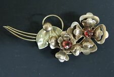 Vintage Signed Harry Iskin Brooch Pin 1/20 10k  Flowers Ruby Red Stones 1940's