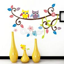 Adesivi Murali Wall Stickers Cartoon Night Owl Tree Bird Per Home Bambino Regalo