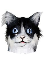 Full Cat Mask Latex and Faux Fur Realistic Kitten Head Halloween Costume Adult