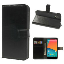 PU Leather Flip Wallet Credit Card Cover Case For LG Google Nexus 5 - Black