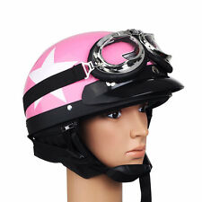 Women Lady's Half Open Fase Helmet with Goggles for Motorcycle Bike M Size