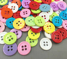NEW 100X Resin 4-holes Mixed-color Round Buttons Sewing crafts scrapbooking 15mm