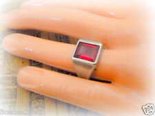 STERLING SILVER ART DECO VINTAGE RUBY COLORED STONE SOLITAIRE RING! 7.25! THICK!
