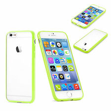 "For Apple iPhone 6 5.5"" CLEAR Hard Back Silicone TPU Bumper Case Cover  Green"