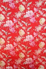 100% Charmeuse Silk Fabric Flowers on Red M67 Per Yard