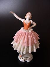 ANTIQUE DRESDEN LACE UNTER WEISS BACH BAVARIA GERMANY DANCER GIRL FIGURINE