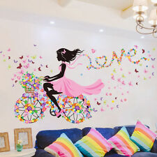 Removable Bicycle Flower Girl Vinyl Art Wall Sticker Mural Home Decal Decor US