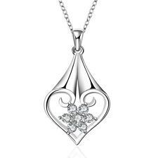 Elegant Silver Plated Zircon Flower in the Heart Shiny Pendant Necklace N349