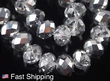 72 pcs 8mm AB Half Silver Crystal Faceted Abacus Rondelle Loose Beads Swarovski