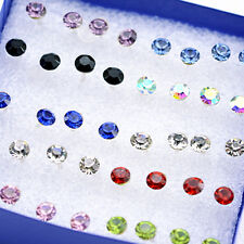 Super cute bundle. 20 pairs of mixed colour 4mm small crystal stud earrings