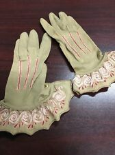 Antique Kayser Paris Brown Leather Embroidered Driving Gloves Snap Detail 5 1/2