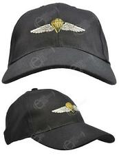 Black US Paratrooper BASEBALL CAP Hat - American Jump Wings - One Size