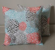 Set of 2 floral blossom blooms pillow covers shams 14 x 14 coral teal Byram