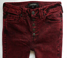River Island Ladies Jeans Size R acid burgundy buttons super skinny jeans 28/30