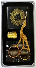Sewing & Embroidery Gift Set, Stork Scissors, Thimble, Needles Tape, Clear Case