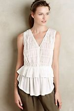 NWT RARE ANTHROPOLOGIE Blue Tassel Ruffle Blouse WHITE COTTON Pepulm Tank Top S