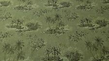 "100% FLAX LINEN FABRIC VINTAGE PRINTED TOILE NATURAL FIBER 56""W UPHOLSTERY BTY"